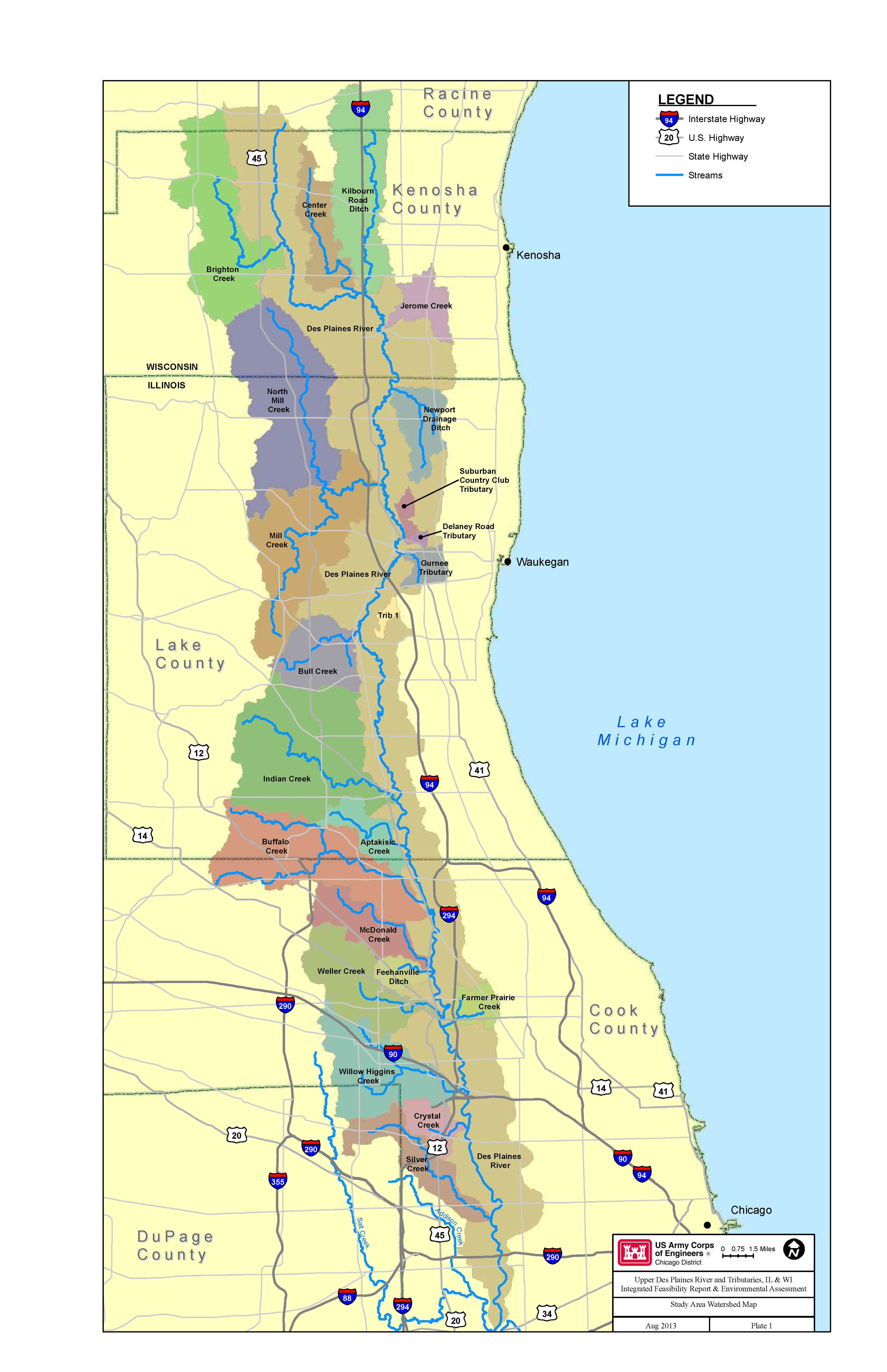 Chicago District  Missions  Civil Works Projects  Des Plaines - Chicago map by county