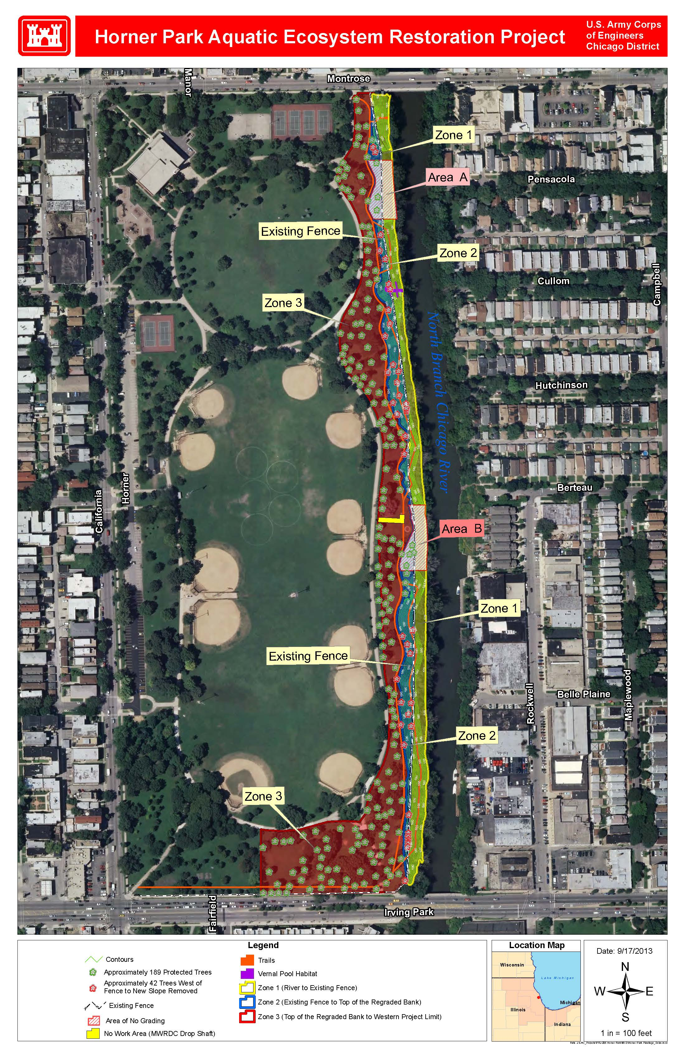 Chicago District  Missions  Civil Works Projects  Horner Park - Map of chicago dog parks