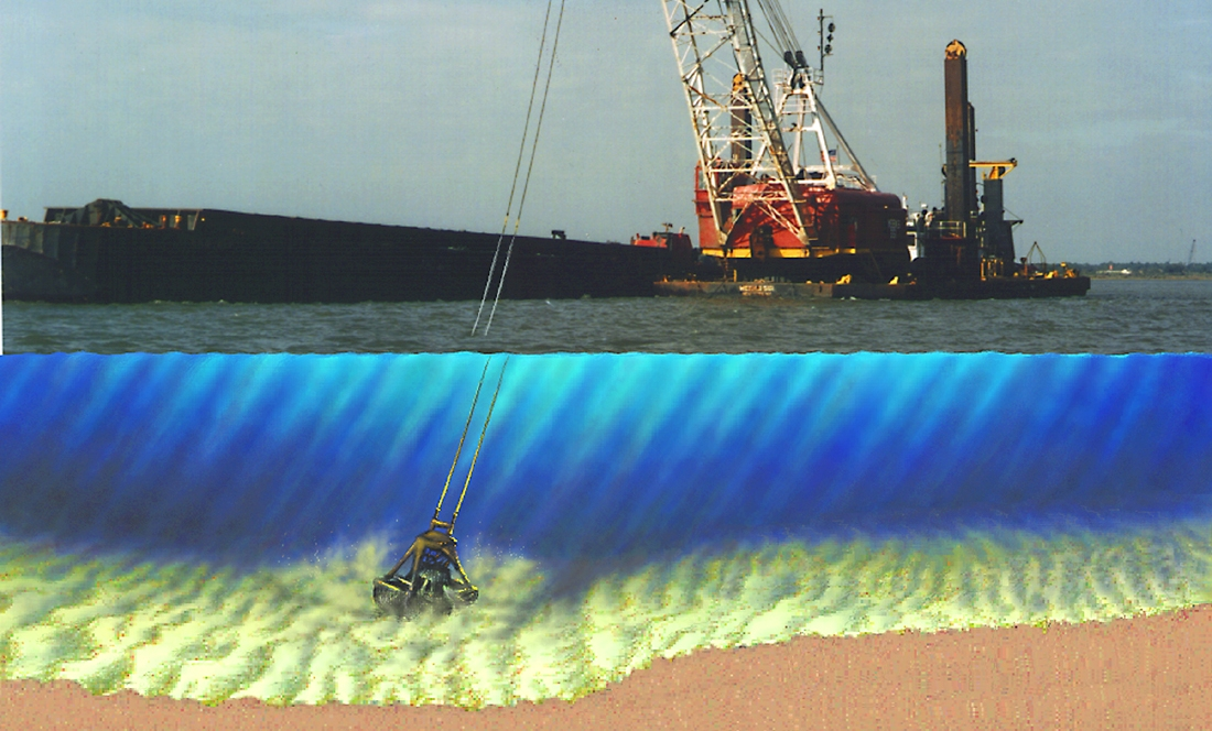 Mechanical dredging with clamshell bucket.